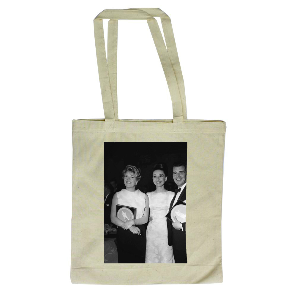 'Rachel Roberts, Audrey Hepburn and Dirk Bogarde' Tote Bag