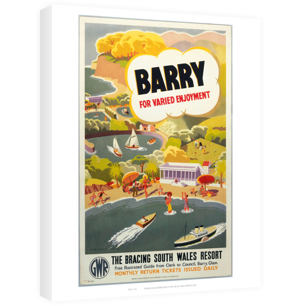 'Barry for Varied Enjoyment', GWR poster, c.1930s.    Canvas