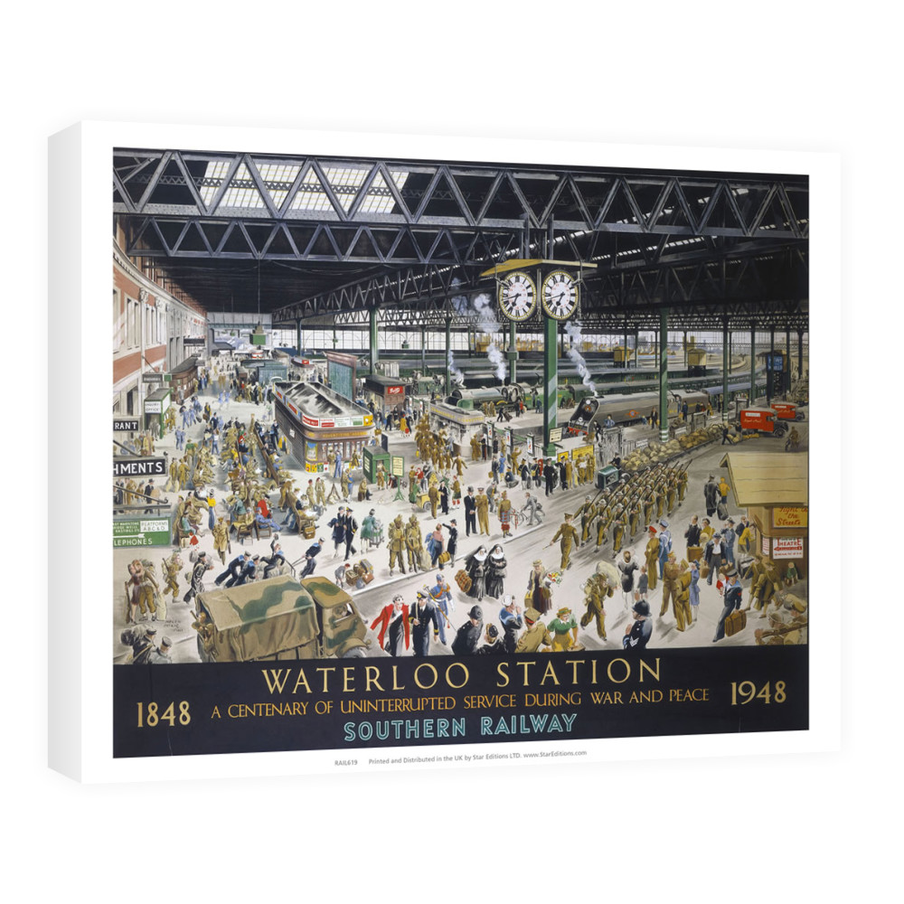 1848 to 1948 waterloo station - Centenary of uninterrupted service Canvas