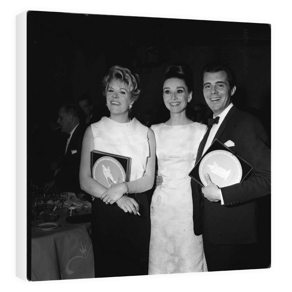 'Rachel Roberts, Audrey Hepburn and Dirk Bogarde' Canvas