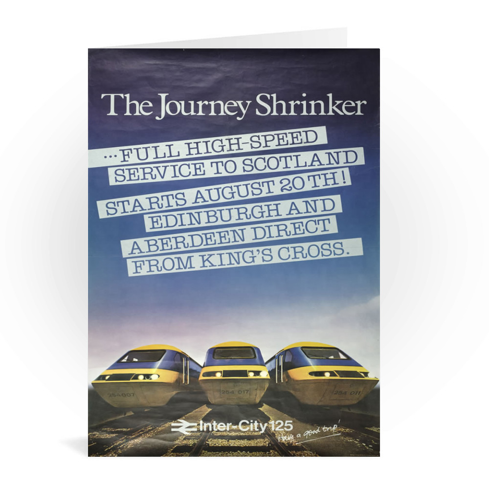 British Railway Poster The Journey Shrinker. Intercity 125 Greeting Card