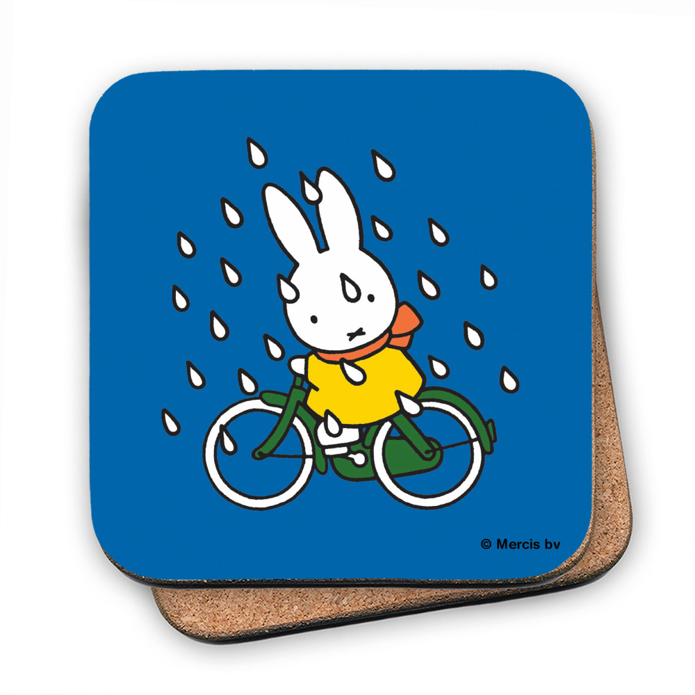 Miffy on Her Bike in the Rain Coaster