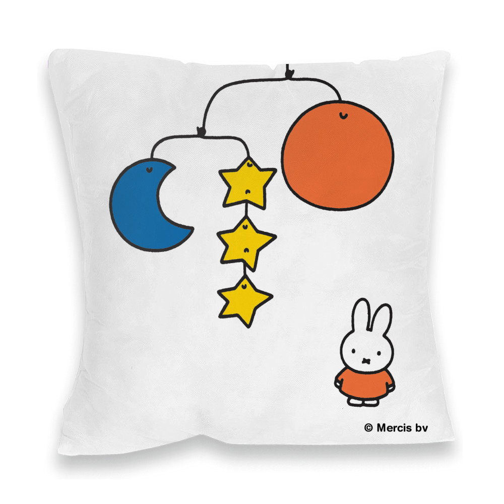Miffy with a Planet Mobile Faux Suede Feather Filled Cushion