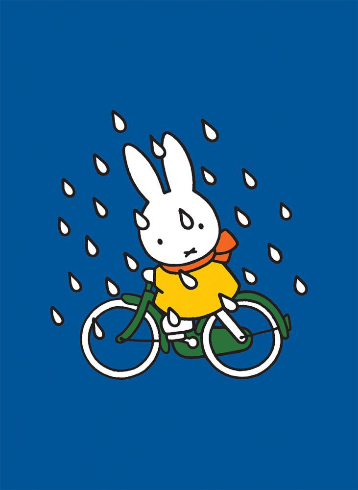 Miffy On Her Bike In The Rain Mini Poster