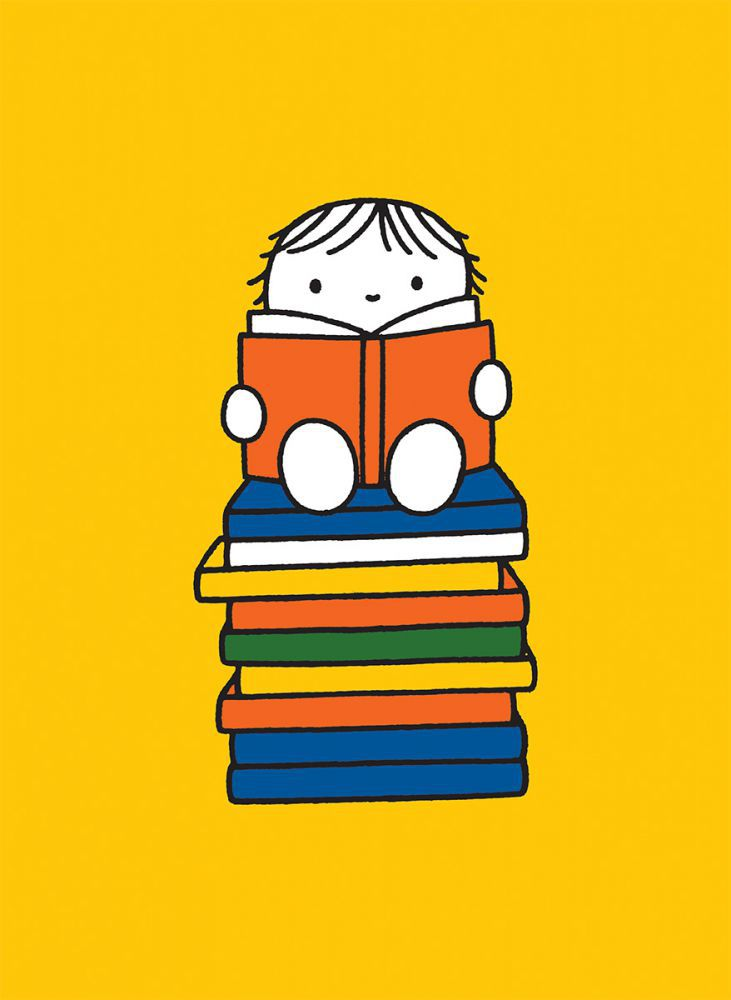 Miffy S Friend Sat On A Pile Of Books Mini Poster