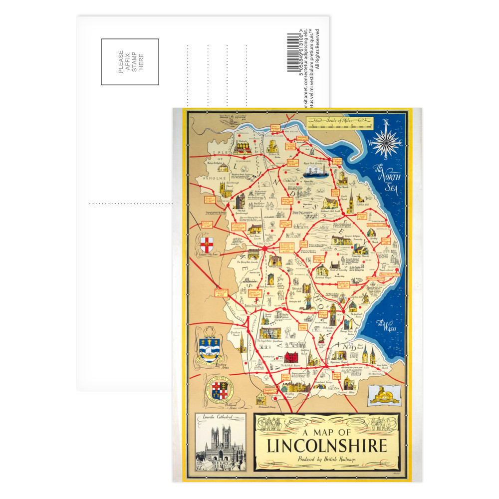 A Map of Lincolnshire - Lincoln Cathedral Postcard