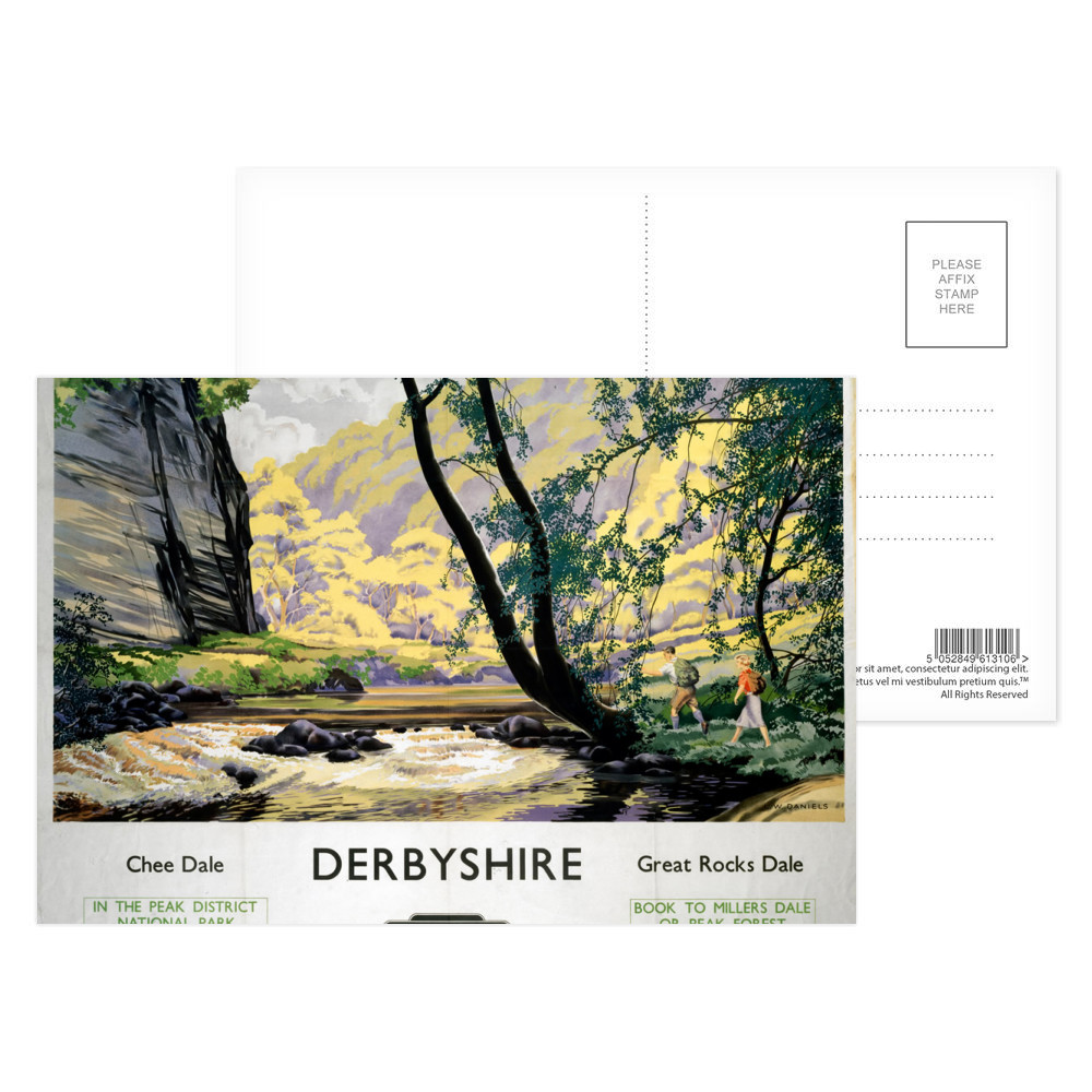 Derbyshire Chee Dale, Great Rocks Dale Postcard