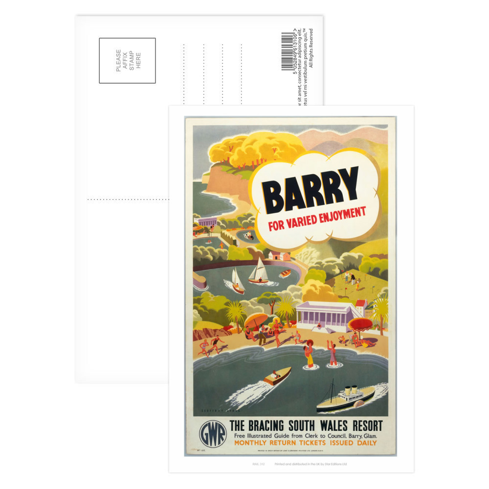'Barry for Varied Enjoyment', GWR poster, c.1930s.    Postcard