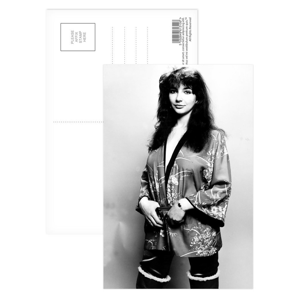 Pop singer Kate Bush poses in the studio wearing a kimono Postcard