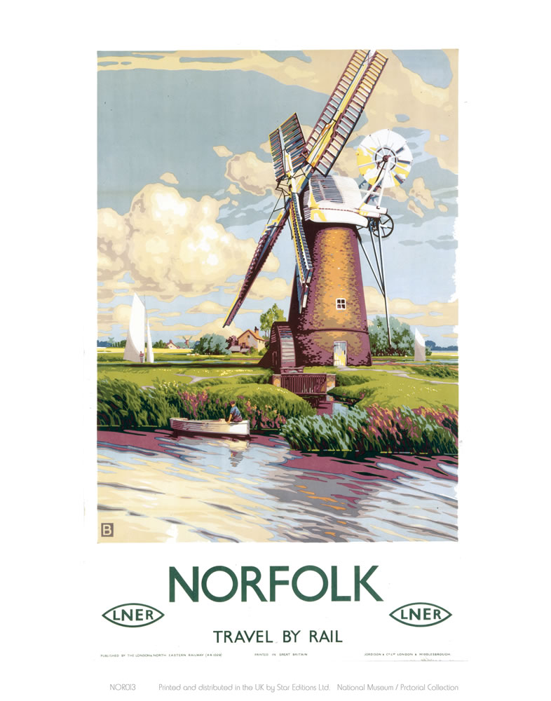 Norfolk Windmill Art Print