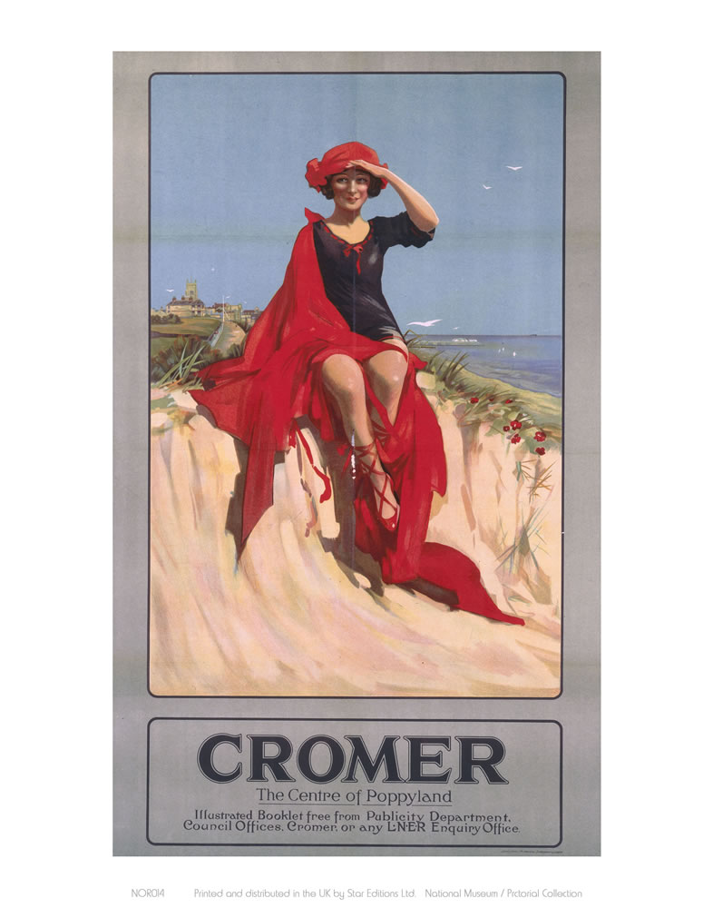 Cromer Girl with Red Material Art Print