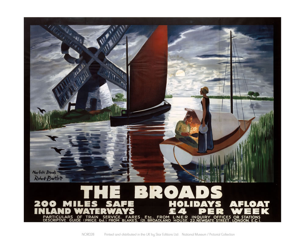 Broads getting dark, two people on boat Art Print