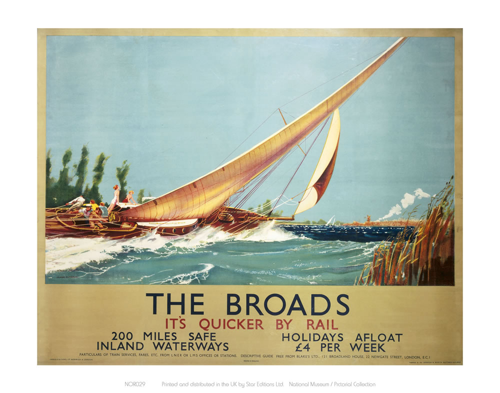 Broads Boat Blowing to Side Art Print