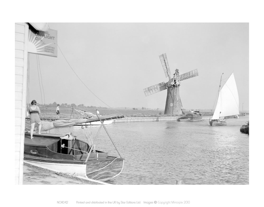 B&W Photo of Broads (boat in foreground) Art Print