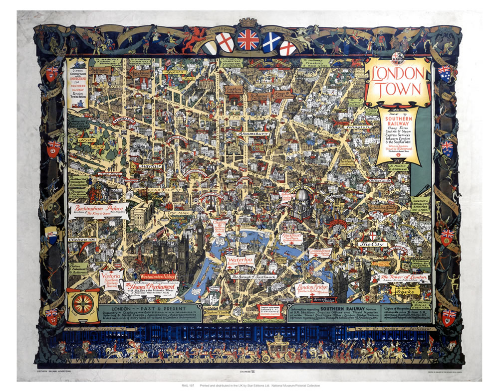 London Town Map Art Print