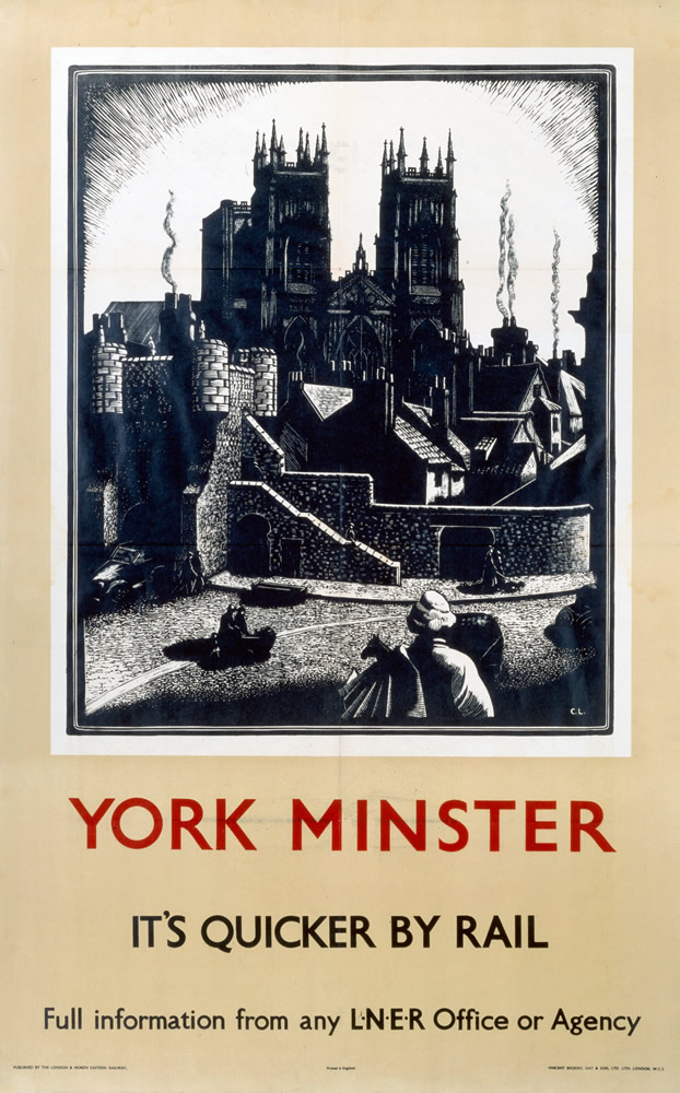 York Minster It's Quicker By Rail Art Print
