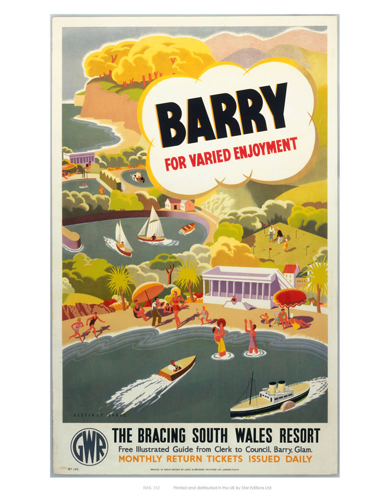 'Barry for Varied Enjoyment', GWR poster, c.1930s.    Art Print