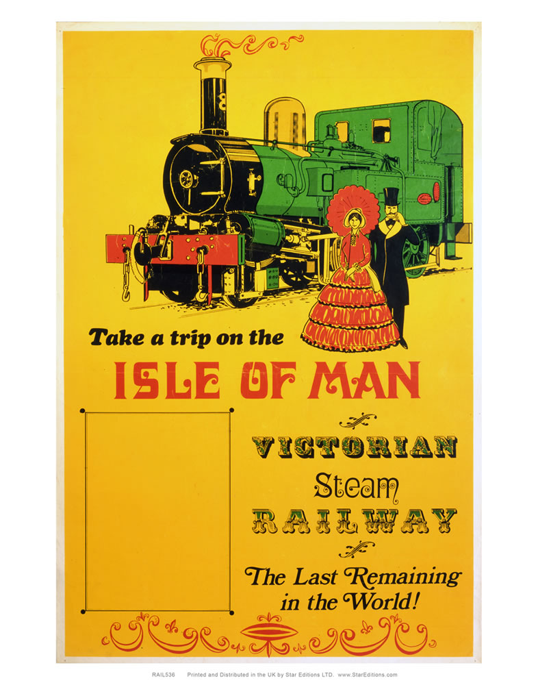 Isle of Man Trip - Victorian steam railway yellow poster Art Print