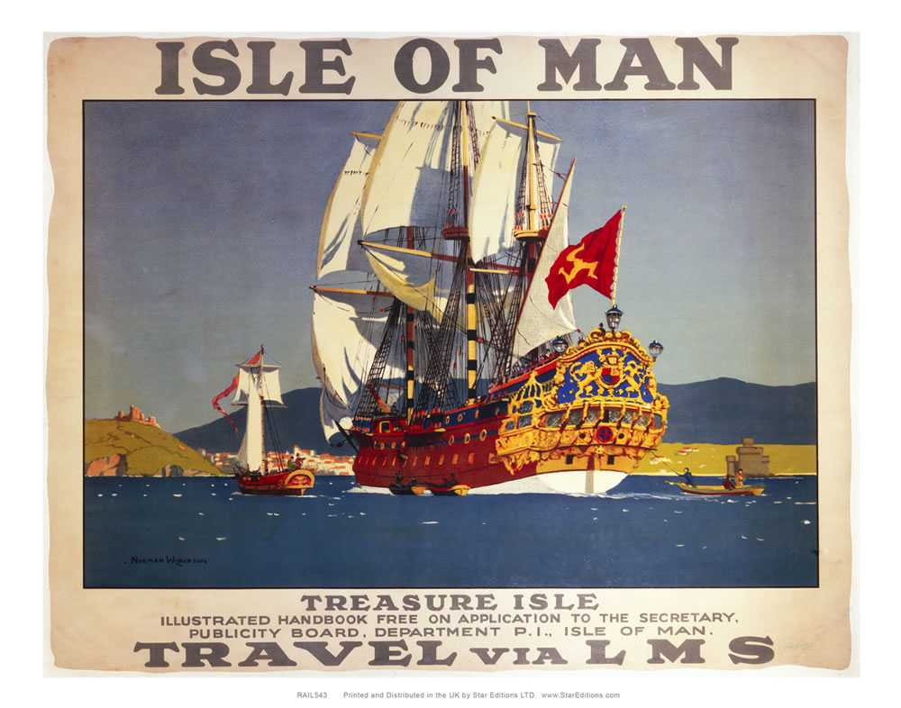 Isle Of Man - Treasure isle ships LMS railway poster Art Print