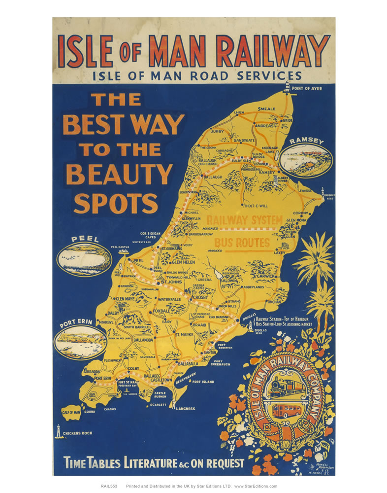 Isle Of Man Railway - The best way to the beauty spots railway poster Art Print
