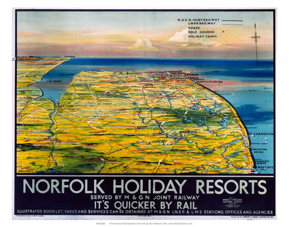 Norfolk Holiday Resorts - Quicker by rail norfolk map Art Print