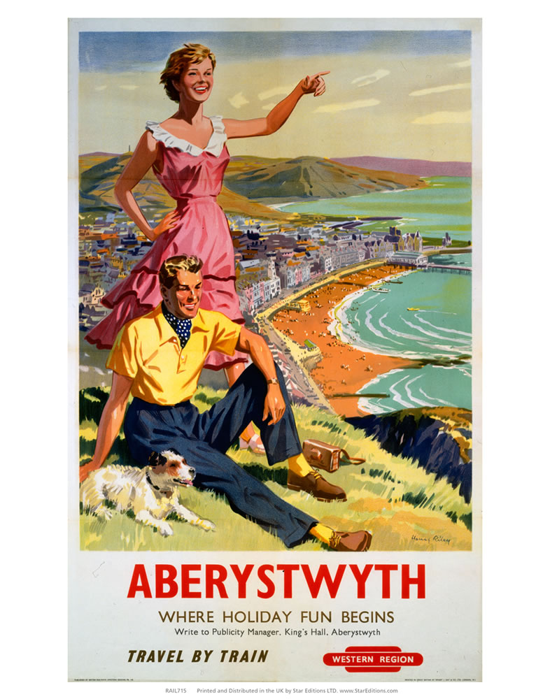 Aberystwyth where holiday fun begins - travel by train Western Region Art Print