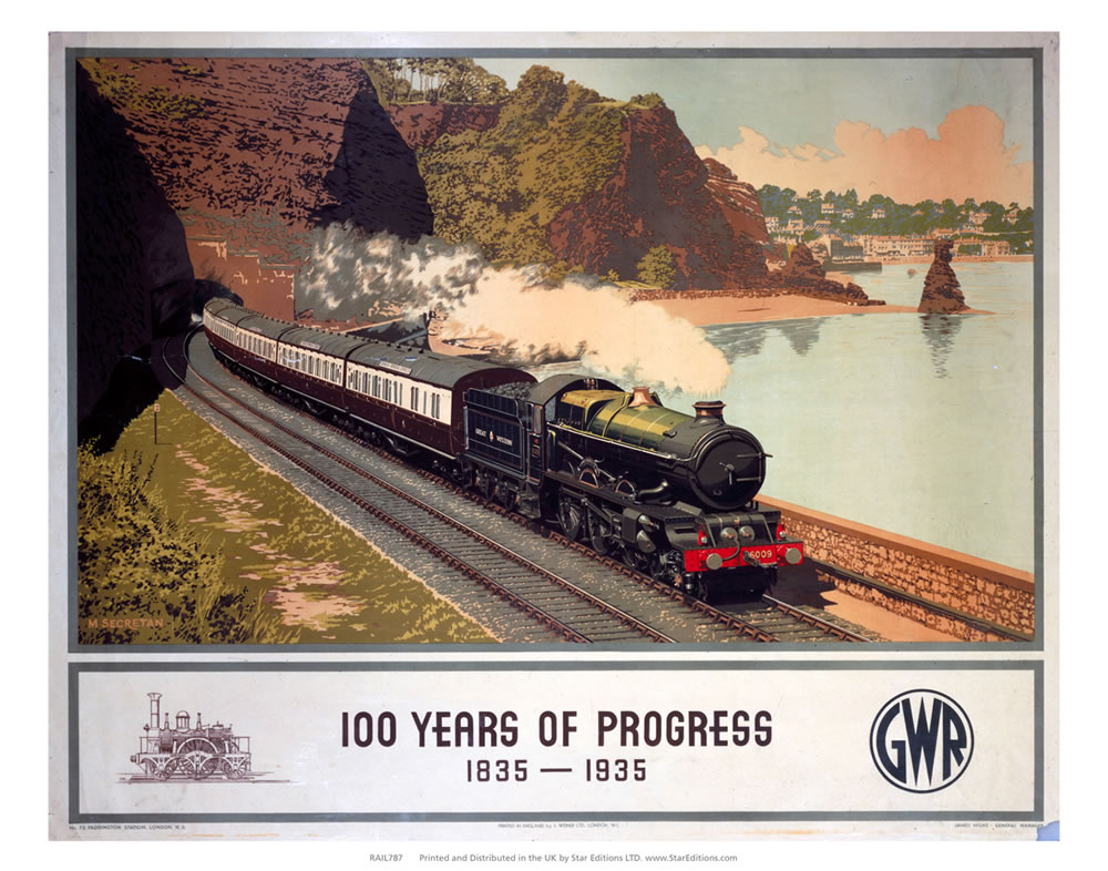 100 Years of progress - Steam train along the coast GWR Art Print