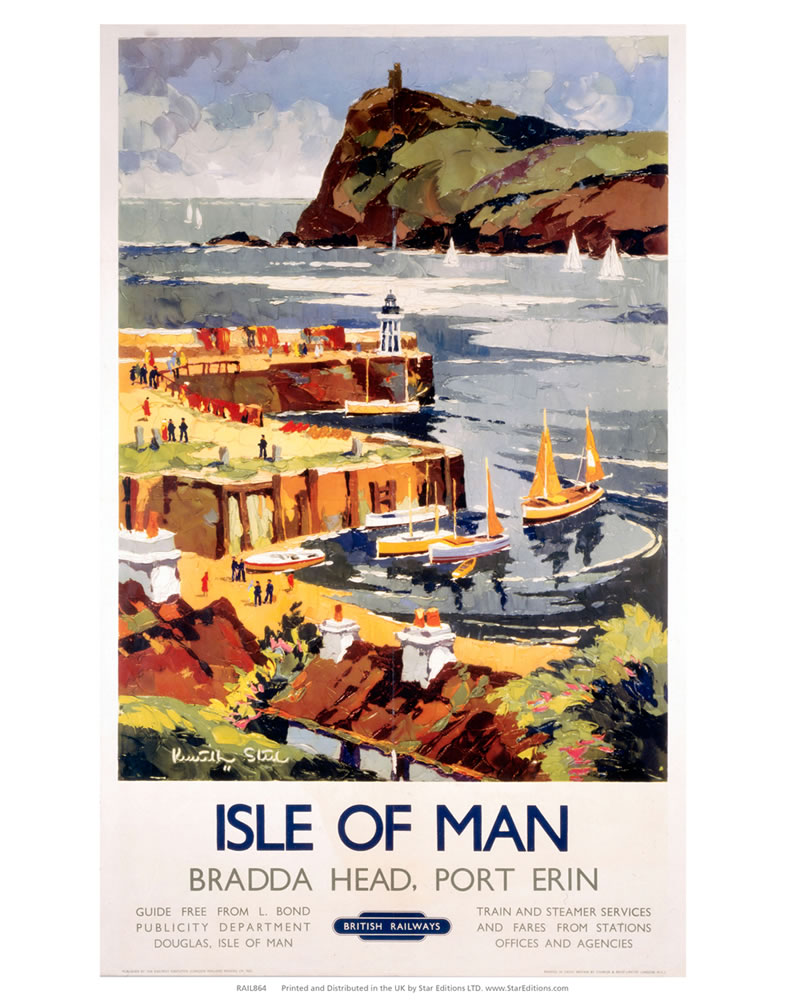 Isle Of Man - Bradda Head Port Erin British Railways Art Print