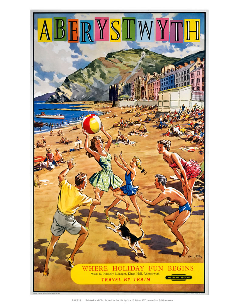Aberystwyth - Family Playing on the beach Art Print
