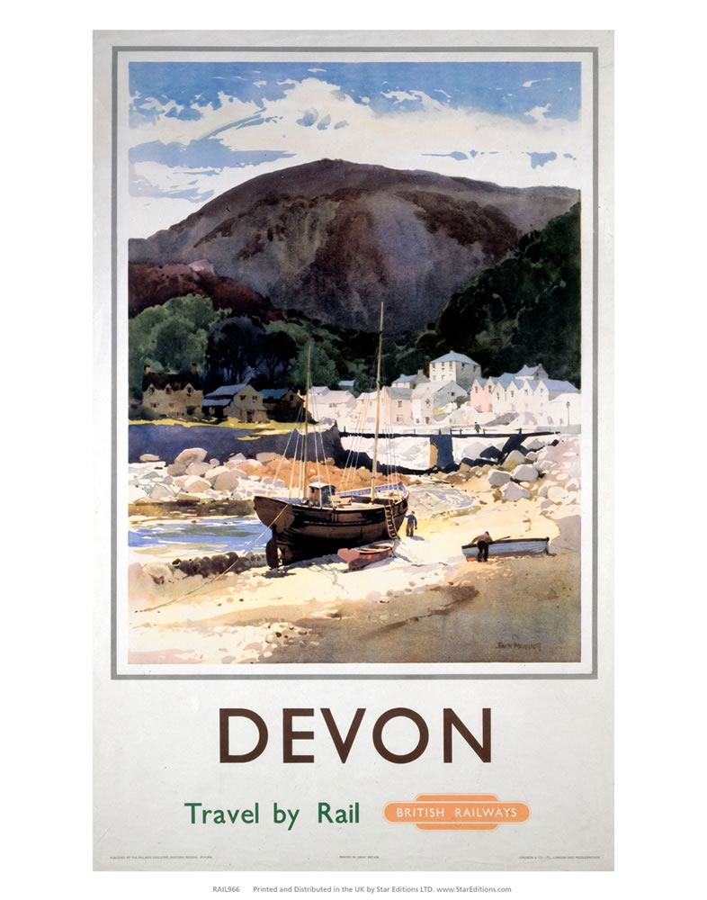 Devon - Boat on the beach Art Print