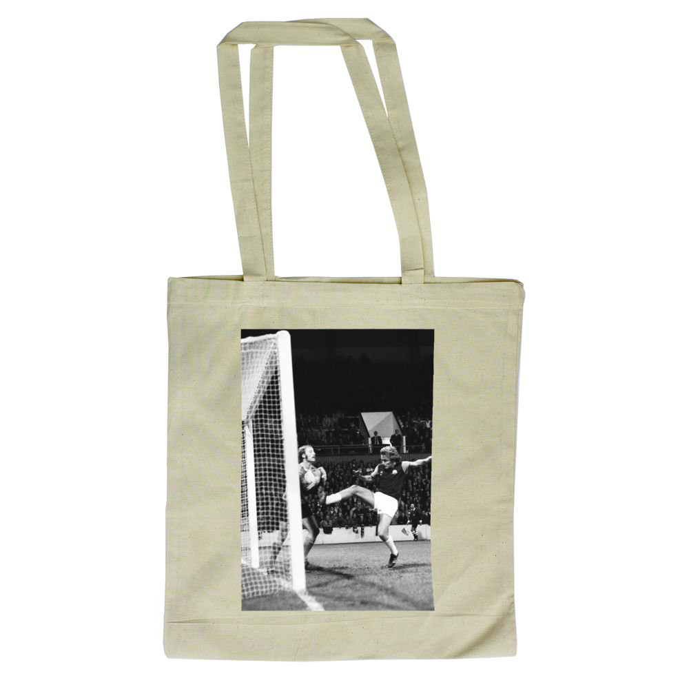 European Cup Winners Cup. West Ham v Reipas Lahden. Pat Holland tries to.. Tote Bag