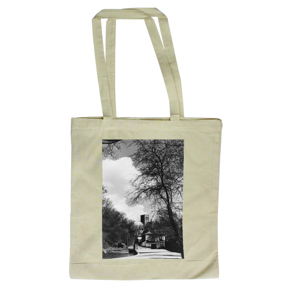 St. Albans scene Cathedral seen through.. Tote Bag