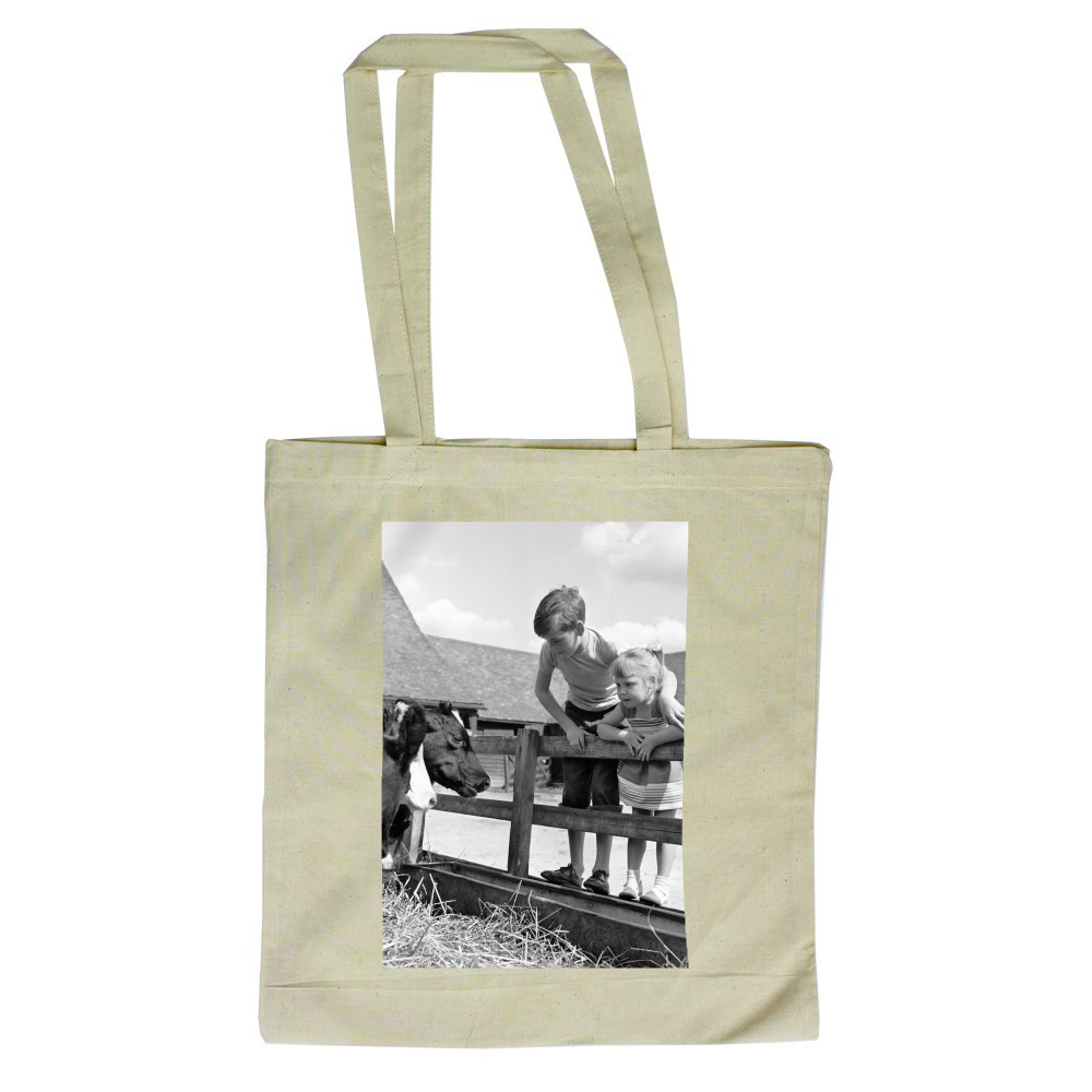 Siblings, Helen (3) and Paul Burrows.. Tote Bag