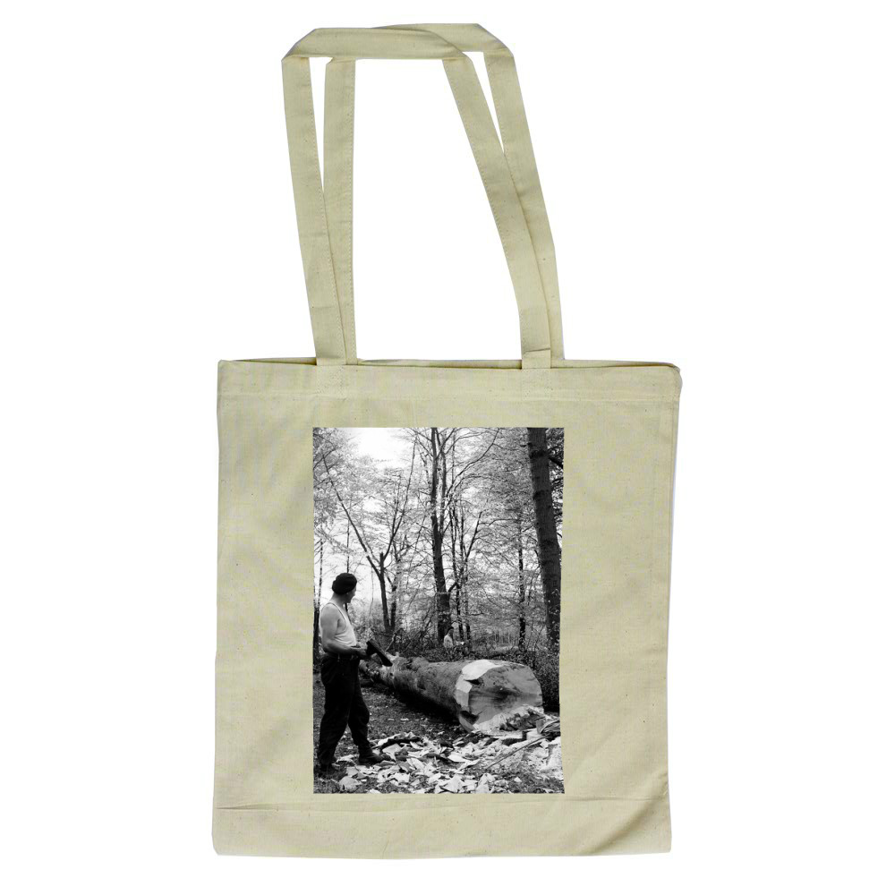 Men chopping a tree down in Ashridge.. Tote Bag