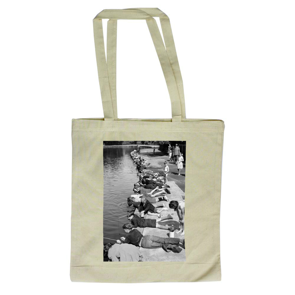 After the Tiddler Title! Its a great day by the pond at Victoria Park,.. Tote Bag