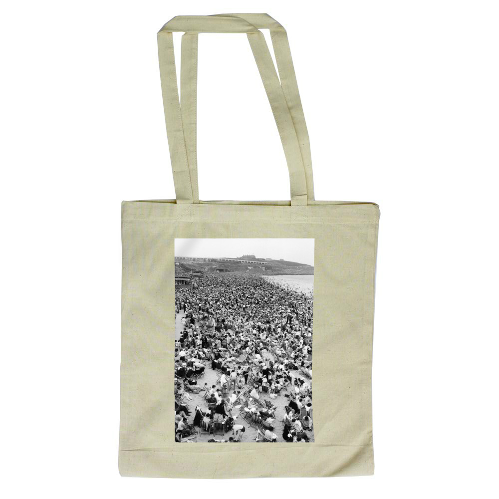 Holiday Crowds at Barry Island: The fantastic holiday crowds which took.. Tote Bag