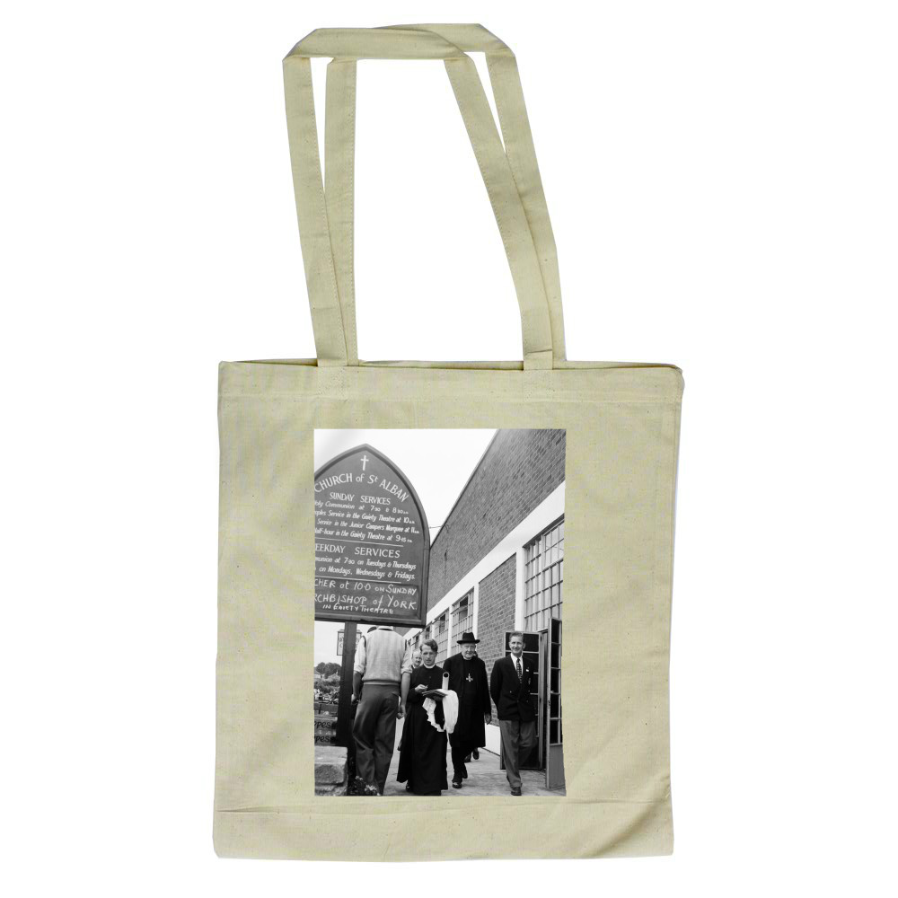 Dr. Cyril Garbett, the Archbishop of York visiting Butlins Holiday Camp,.. Tote Bag