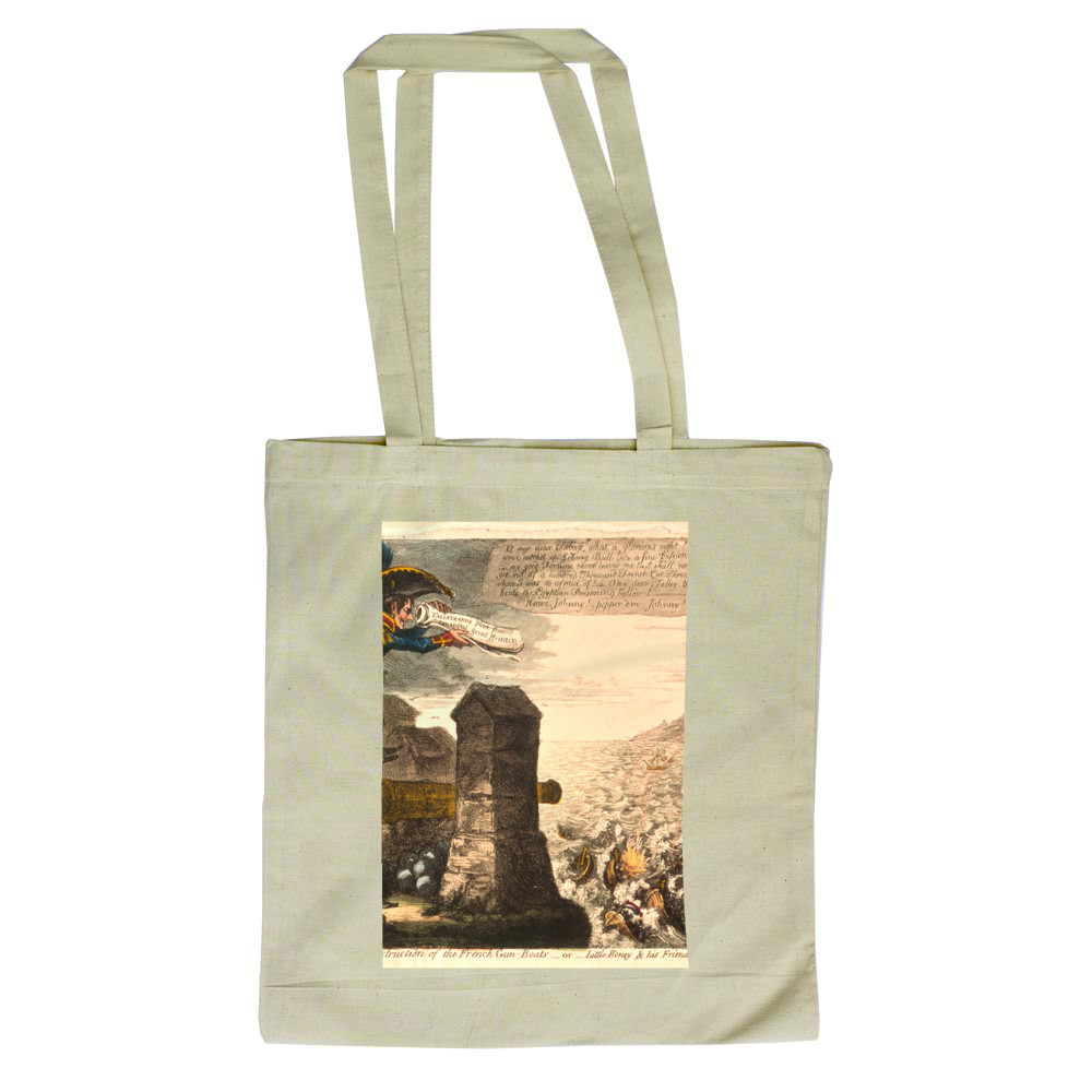 Destruction of the French Gun Boats or Little Boney and his Friend Tally in high Glee Tote Bag