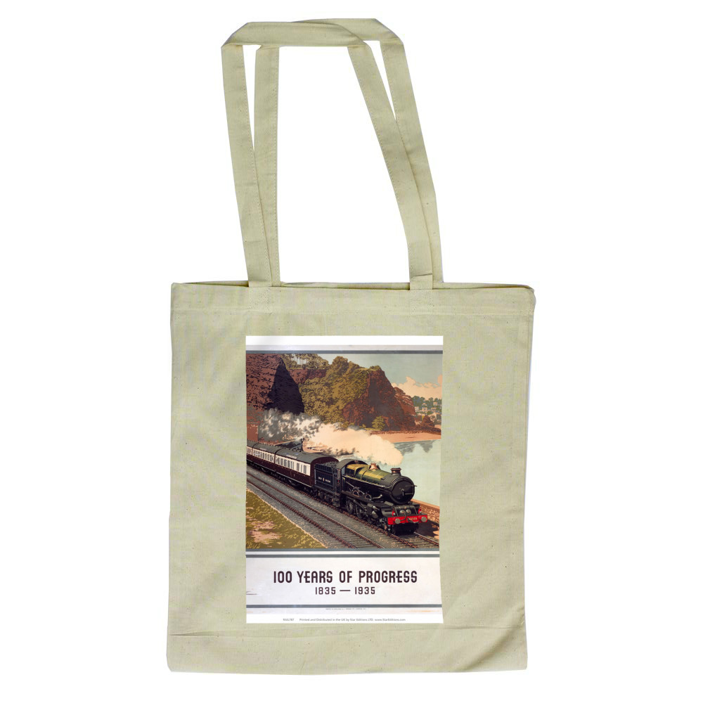 100 Years of progress - Steam train along the coast GWR Tote Bag Tote Bag