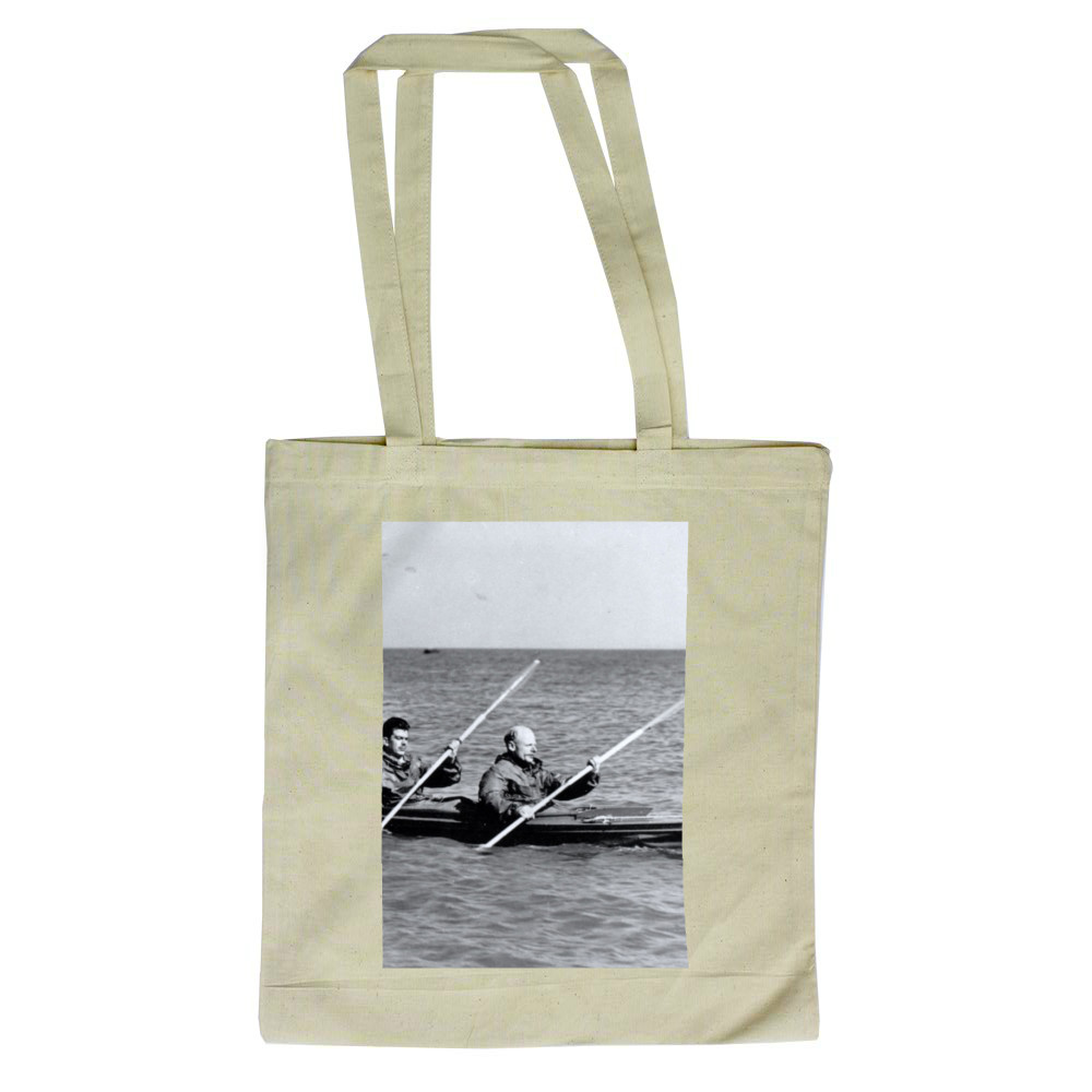 A MK2 canoe with Major Hasler & Captain Stewart showing paddling styles in.. Tote Bag