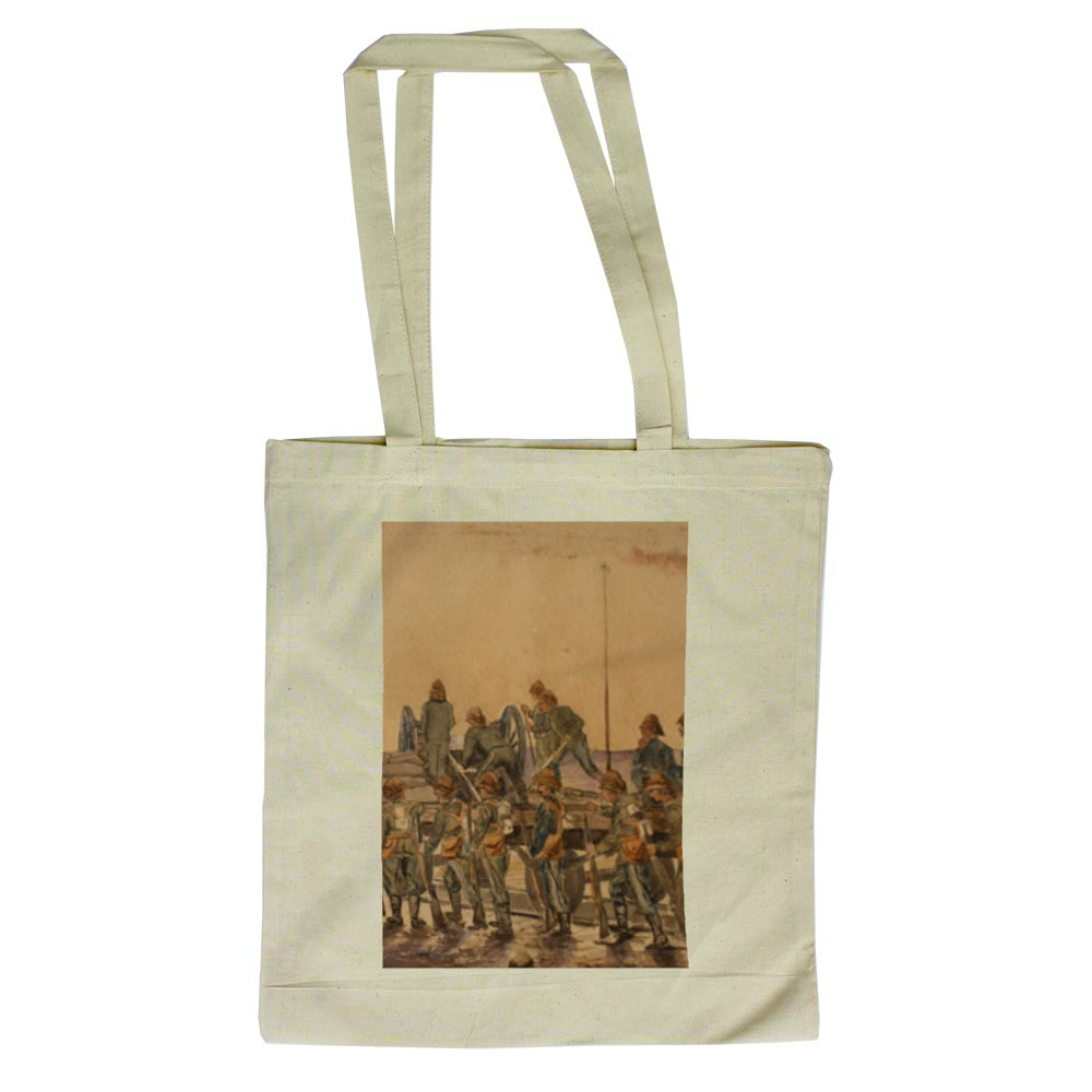 watercolour, Royal Marine Artillery working a captured gun mounted on a.. Tote Bag