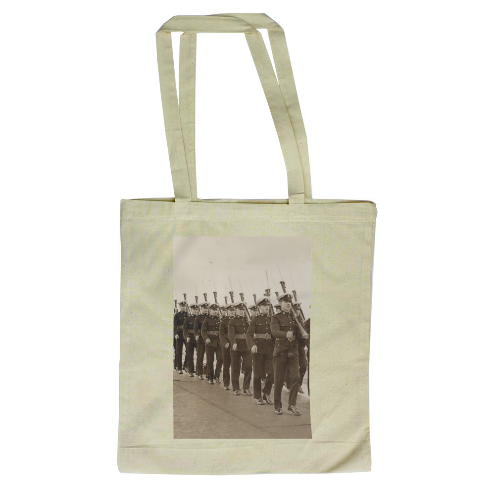 Royal Marine Guard on the flight deck of the aircraft carrier HMS Furious,.. Tote Bag