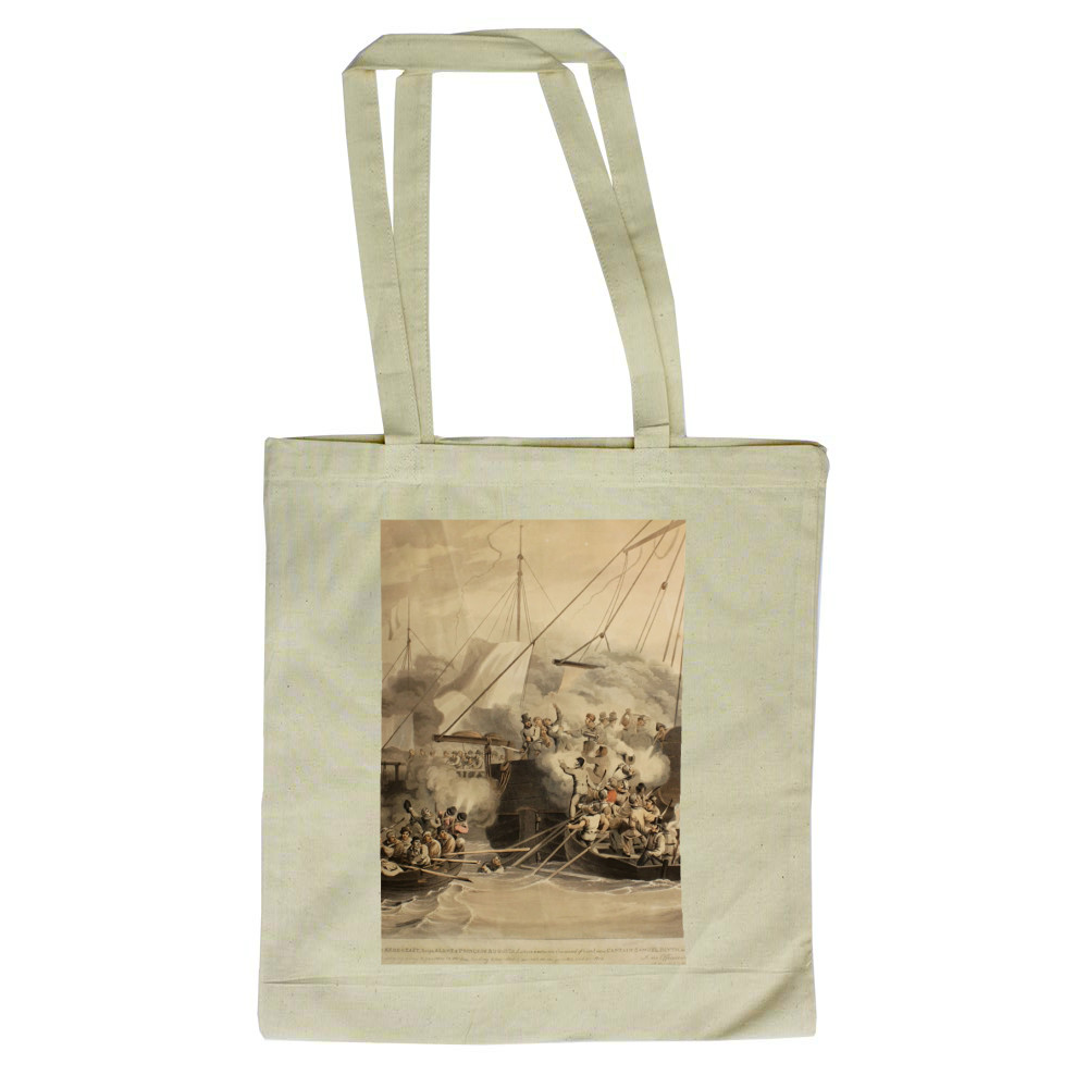 aquatint, ''The Row Boats of the Quebec (frigate) Raven, Exertion and.. Tote Bag