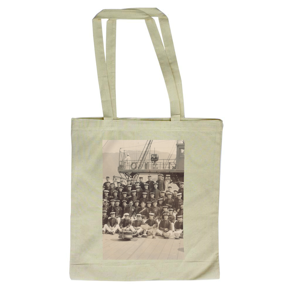 Royal Marine Detachment aboard the cruiser HMS Diadem, probably on the.. Tote Bag