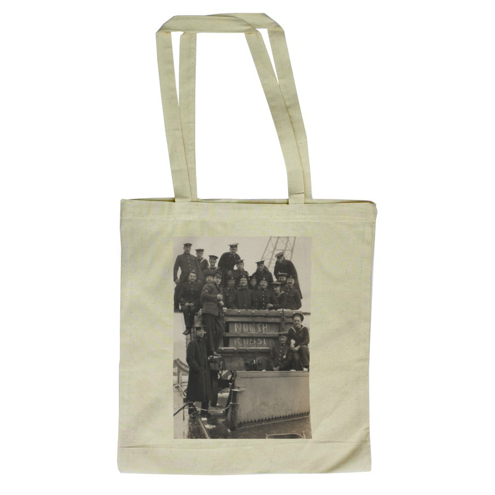 Royal Marines sitting in and on a railway wagon in North Russia, 1919. Tote Bag