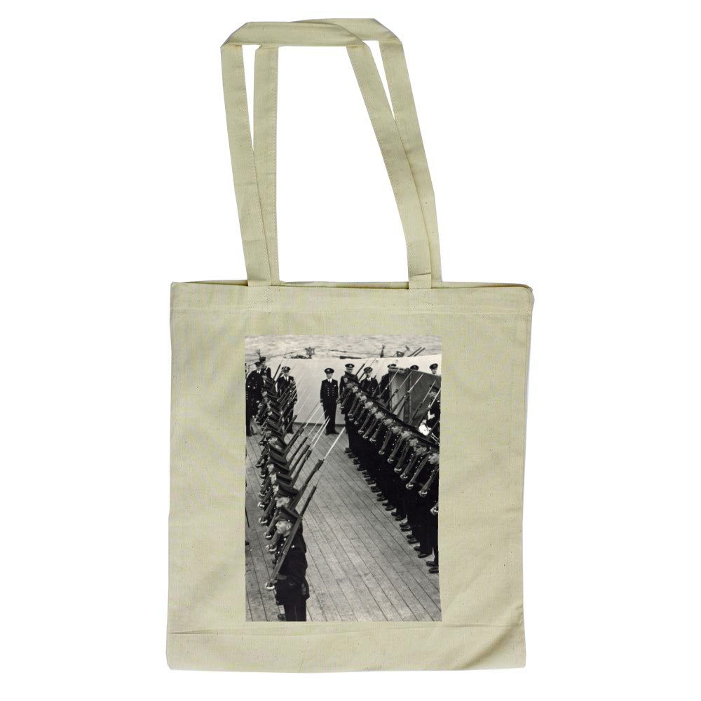 H M King George inspecting Royal Marines of the ship's RM Detachment.. Tote Bag