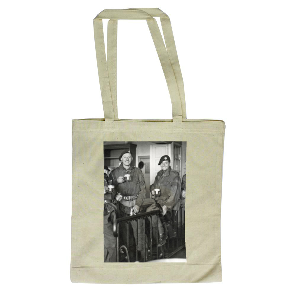 Royal Marine Commandos drinking beer at Buxtehude, Lower Saxony, Germany,.. Tote Bag