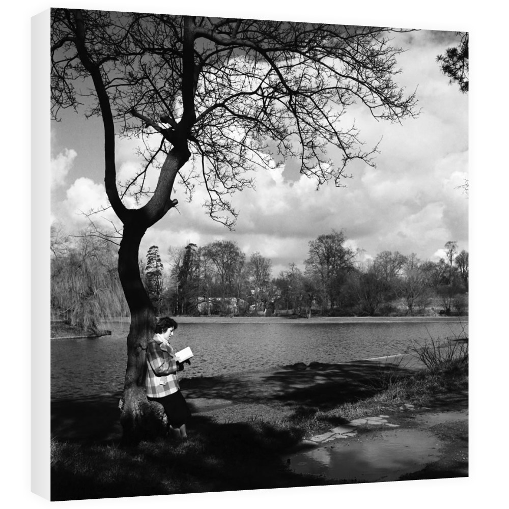 Woman reading her book by the lake in.. Canvas