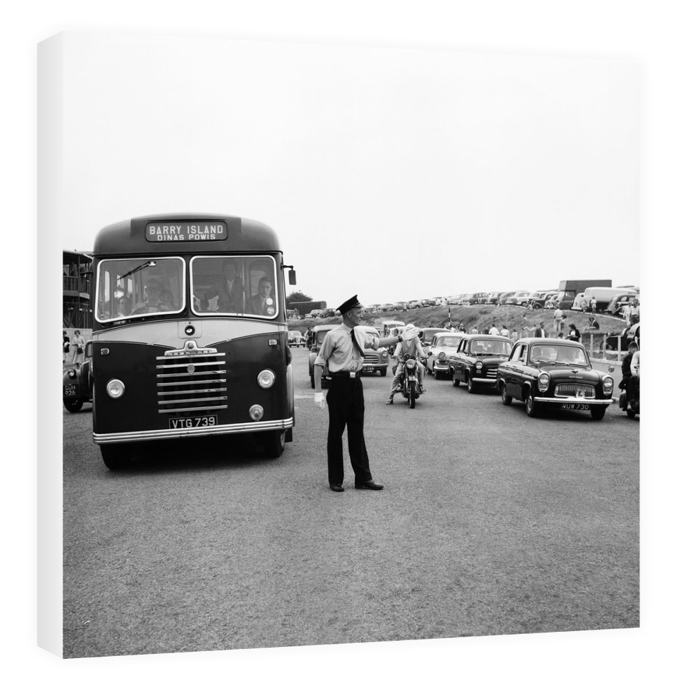 Holiday Crowds at Barry Island: Two Barry policeman control the dangerous.. Canvas