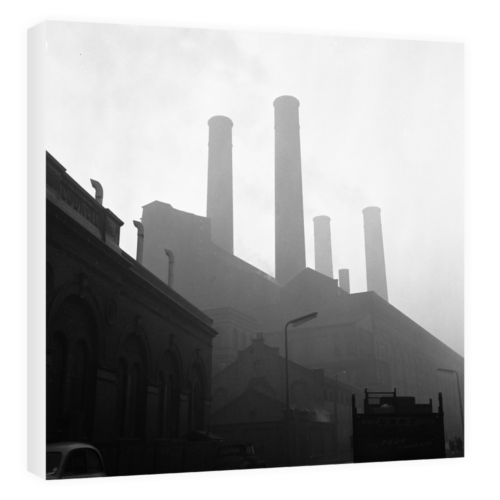 Battersea Power Station seen here on a murky foggy winters morning. London Canvas